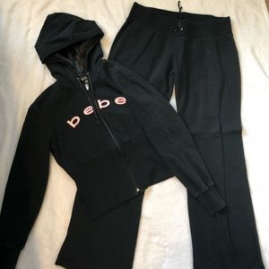 e32210bc211 bebe Other | Sweatsuit Black With Pink White Accents | Poshmark